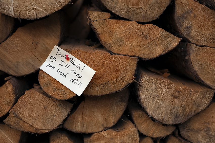 Wood Pile Warning